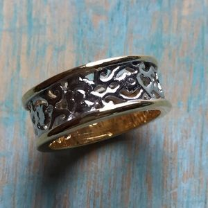 Sterling silver 18 Kt gold ring